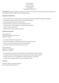 Sample Passport Specialist Resume