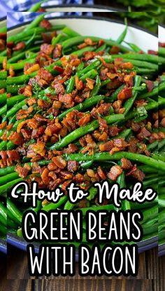 These green beans with bacon are fresh string beans cooked until tender, then topped with plenty of crispy bacon. Easy Vegetable Recipes, Vegetable Dishes, Easy Recipes, Green Beans With Bacon, Cooking Green Beans, Side Dishes Easy, Side Dish Recipes, Savoury Dishes, Food Dishes