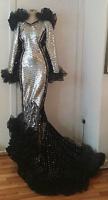 Drag-Queen-XXL-silver-costume-Ruffle-Stage-Mermaid-Dress-Size-24-26-28-uk