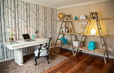 Decorate your home with new or used wooden ladders.