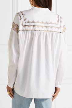 Tory Burch - Jayne Embroidered Cotton-poplin Blouse - White