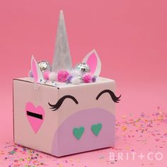 You can make a unicorn Valentines Day gift box by following along with this video DIY tutorial.