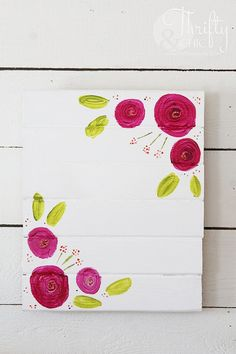 Learn how to paint flowers with these 35 flower painting tutorial projects. Roses, daisy, abstract & impressionist art ideas, step by step instructions. Painting Flowers Tutorial, Easy Flower Painting, Acrylic Painting Flowers, Easy Canvas Painting, Acrylic Painting Tutorials, Easy Paintings, Abstract Canvas, Diy Painting, Painting On Wood