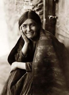 """Navaho Smile"". It was taken in 1904 by Edward S. Curtis."