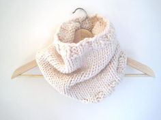 Hand Knitted Cowl in Off-White Wool ...