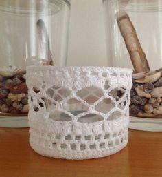 Diy Candles, Candle Jars, Mason Jar Crafts, Mason Jars, Crochet Designs, Crochet Patterns, Crochet Jar Covers, Crochet Placemats, Mug Cozy