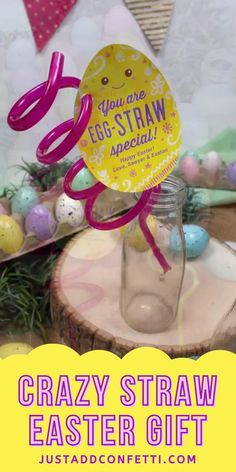 Get ready for Easter with this cute crazy straw Easter gift idea. The printable Easter egg gift tags are available in my Just Add Confetti Etsy Shop. Just print the Easter egg printable cards and attach them to a plastic crazy straw! Such a fun Easter gift in minutes! Perfect for kids, classmates, or friends. Also, this crazy straw gift would be a great addition to any Easter basket for kids. Also, be sure to head to justaddconfetti.com for even more Easter decorations, gift ideas and crafts.