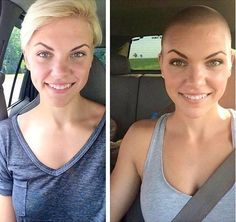 shorthairbeauty: Which look do you prefer? Bald Head Women, Shaved Head Women, Girls With Shaved Heads, Before After Hair, Before And After Haircut, Buzz Cut Women, Buzz Cuts, Short Hair Cuts, Short Hair Styles
