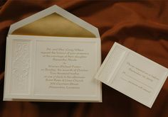 Wedding Invitations ecru budget friendly horizontal invitation has stunning embossing  by Wedding Invitations -The Office Gal