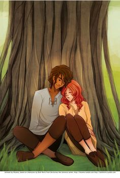 Amy and Elder snuggled under a tree on Centauri-Earth by Hizome: http://hizome.tumblr.com/