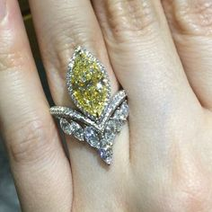 Paco Art (@pacoarthk) on Instagram: extraordinary ring design for fabulous over 3 carat Marquize cut yellow diamond.