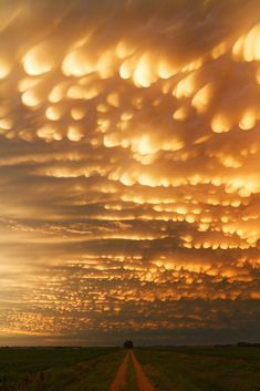Bubbling pockets of mammatus clouds, formed by cold air sinking through the anvil of departing thunderstorms, create for a deep and colorful sky at sunset. Cool Pictures, Cool Photos, Beautiful Pictures, All Nature, Amazing Nature, Flowers Nature, Amazing Art, Beautiful Sky, Beautiful World
