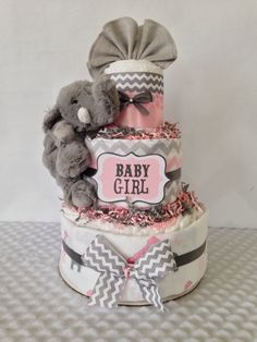 Designer Elephant Diaper Cake in Pink and Gray, Elephant Theme Baby Shower Centerpiece by AllDiaperCakes on Etsy