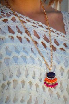 Fringe Pendant Necklace - Navy | #thezigzagstripe #necklace