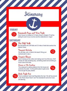 Nautical Bachelorette Party Itinerary Custom by TownleyDesigns.  make a custom itenerary for the weekend?