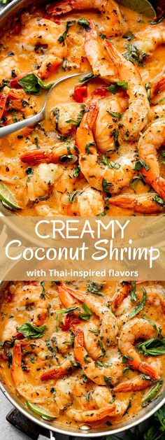 This Creamy Coconut Shrimp is full of Thai inspired flavors! An easy shrimp recipe bursting with coconut milk, basil, ginger, garlic, and fresh shrimp. Made in only one skillet and ready in 20 minutes! #coconutshrimp #easydinners #seafood Creamy Coconut Shrimp, Coconut Shrimp Recipes, Best Seafood Recipes, Shrimp Recipes For Dinner, Healthiest Seafood, Shrimp Recipes Easy, Seafood Dinner, Fish Recipes, Asian Recipes