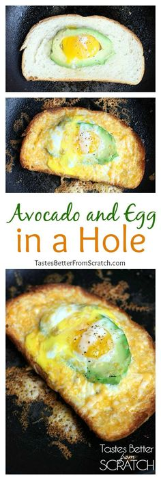 My families FAVORITE easy Breakfast! Avocado and Egg in a Hole from TastesBetterFromScratch.com