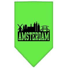Amsterdam Skyline Screen Print Bandana Lime Green Small