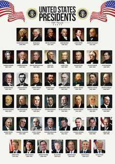 Zapista USA Presidents Art Print The United States of America Poster School Classroom Home Office Wall Decoration Learning History Gifts Unframed x List Of Us Presidents, American Presidents, American History, Us Presidents Timeline, Presidents Usa, British History, History Timeline, History Facts, World History