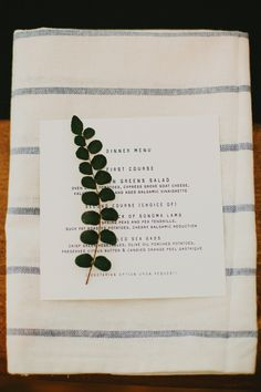 #napkins, #menu  Photography: Milou + Olin Photography - milouandolin.com Event Planning, Styling + Stationery: Bash, Please - bashplease.com/ Catering: Paula Le Duc Fine Catering - paulaleduc.com/  Read More: http://www.stylemepretty.com/2013/06/13/durham-ranch-wedding-from-milou-olin-photography-bash-please/