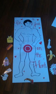 Pin the junk on the hunk bachelorette game! @Jessica Wichie we always used to play pin the tail on the donkey!