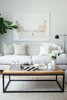 Novel Small Living Room Design and Decor Ideas that Aren't Cramped - Di Home Design Home Living Room, Apartment Living, Living Room Designs, Living Room Decor Simple, White Couch Living Room, Living Room Prints, Living Area, Living Room Inspiration, Home Decor Inspiration