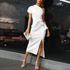 One shoulder ruched irregular party dress Women slit high waist plunging dresses Summer 2020 white black elegant vestidos femme Black Women Fashion, White Fashion, Womens Fashion, Fashion Fashion, Club Fashion, 1950s Fashion, Fashion Shoes, Fashion Trends, Looks Style