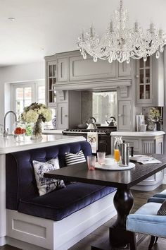 I like the bench seating off the back of the kitchen island.