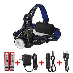 Amerzam LED HeadlampWaterproof  lightweight Camping outdoor sports Headlight with usb Cable >>> Click on the image for additional details.