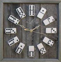 ⣶ Domino Domicile ⣶ black & white upcycled domino clock