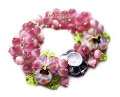 Floral women quartz lampwork  wrist watch  with от FlowerWatch