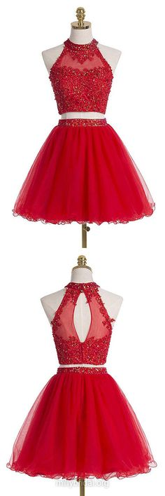 Red Short Homecoming Dresses,A-line High Neck Party Gowns,Tulle Short Cocktail Dress,Sequins Homecoming Dresses