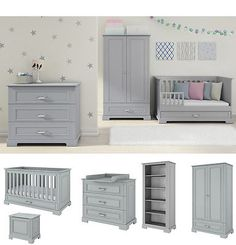 Nursery furniture set grey | baby cot bed + #drawers + #changing table + #wardrob, View more on the LINK: http://www.zeppy.io/product/gb/2/221894262679/