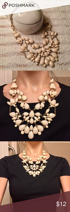 Cream and gold faceted statement necklace Purchased at Aldo in Dubai. EUC Aldo Jewelry Necklaces