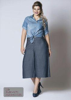 Pantacourt Jeans Plus Size Fashion - Daluz Plus Size - Loja Virtual - Moda Grande - Compre Já sem sair de casa!