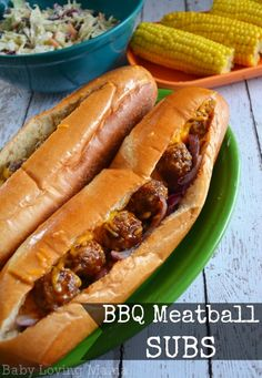 Easy BBQ Meatball Subs with Kraft Fresh Take - Finding Zest Sausage Meatballs, Bbq Appetizers, Meatball Subs, Good Food, Yummy Food, Recipes From Heaven, Wrap Sandwiches, Pork Recipes, Recipies