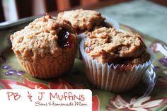 Mostly Homemade Mom - PB & J Muffins