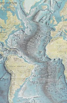The Atlantic Ocean floor produced by Marie Tharp and Bruce Heezen which popularised the theory of tectonic plates which make up the earth's crust. Picture: British Library