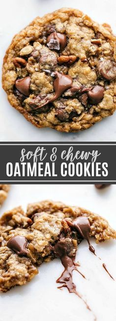 Delicious and flavorful oatmeal pecan cookies -- crisp on the edges and chewy in the center! These oatmeal pecan cookies are a classic that everyone loves! Köstliche Desserts, Delicious Desserts, Dessert Recipes, Yummy Food, Dinner Recipes, Cookie Crisp, Crinkle Cookies, Cookies Soft, Oat Flour Cookies