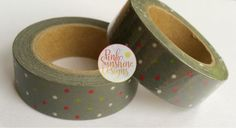 Gray/Silver with Red, Green and White Polka Dots Washi Tape 15mm by PinkSunshineSupplies on Etsy