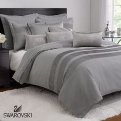 Treat yourself to this luxurious Swarovski duvet cover embellished with a delicate dotted embroidery pattern. The silver color would create a beautifully elegant and contemporary theme to any bedroom.