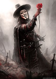 V – V for Vendetta fan art by Austen Mengler V For Vendetta Tattoo, Dark Fantasy, Fantasy Art, V Pour Vendetta, V For Vendetta Comic, Harey Quinn, Hacker Wallpaper, 8k Wallpaper, Joker Pics