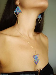 Brick stitch earrings and pendant with delica and gold filled chain. Lili Ekbat Bijoux, France.