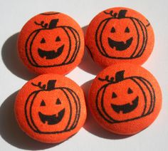 Pumpkin Buttons Fabric Covered Set of Four by neverlandshop
