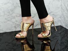 GIUSEPPE ZANOTTI Metallic Snake-effect Leather Mules | Buy ➜ http://shoespost.com/giuseppe-zanotti-metallic-snake-effect-leather-mules/