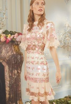 Stunning Dresses, Beautiful Gowns, Pretty Dresses, Pink Gowns, Mesh Dress, Needle And Thread, Rose Buds, Striped Dress, Dress Collection