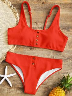 SHARE & Get it FREE | Padded Ribbed Texture Buttons Bikini Set - Red SFor Fashion Lovers only:80,000+ Items • New Arrivals Daily Join Zaful: Get YOUR $50 NOW! #swimwear#bikini#beach#style