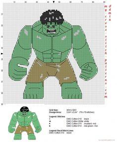 Lego Hulk free cross stitch pattern (click to view)