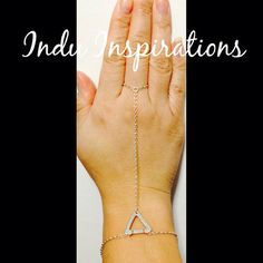 Sterling silver geometric hand jewelry hand chain on Etsy, $85.00