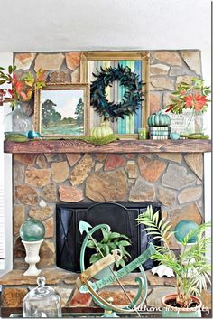 My new Rustic fall mantel for this year! Using colors I love in the room, I Fallified my mantel with a few things pulled from around my house & clipped turning branches for some fun accents!
